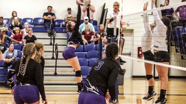 Autum Hiser delivers a spike against the Wright Lady Panthers Aug. 26 during the Douglas invite. Hiser and the Lady Herders fell to the three time defending 2A state champions in two sets 25-16, 25-19. The Herders finished the tournament in sixth.
