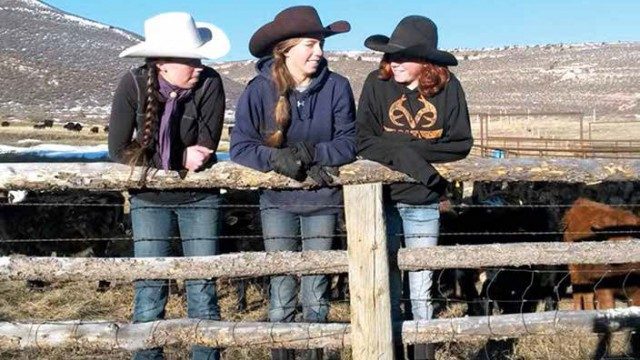 Clara (from left), Faye and Josey Lankister learn about life, hard work and get a strong education from mother Wendi at the ranch near Glenrock.